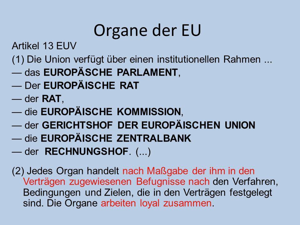 Organe der EU Artikel 13 EUV (1) Die Union verfügt über einen institutionellen Rahmen... das EUROPÄSCHE PARLAMENT, Der EUROPÄISCHE RAT der RAT, die EU