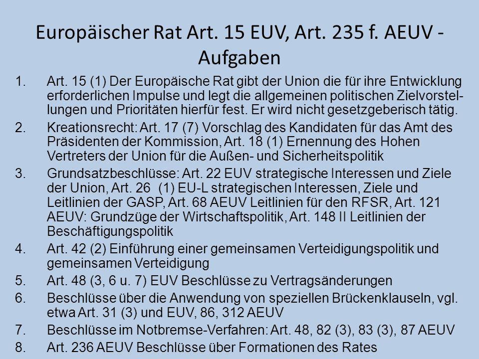 Europäischer Rat Art. 15 EUV, Art. 235 f. AEUV - Aufgaben 1.Art. 15 (1) Der Europäische Rat gibt der Union die für ihre Entwicklung erforderlichen Imp