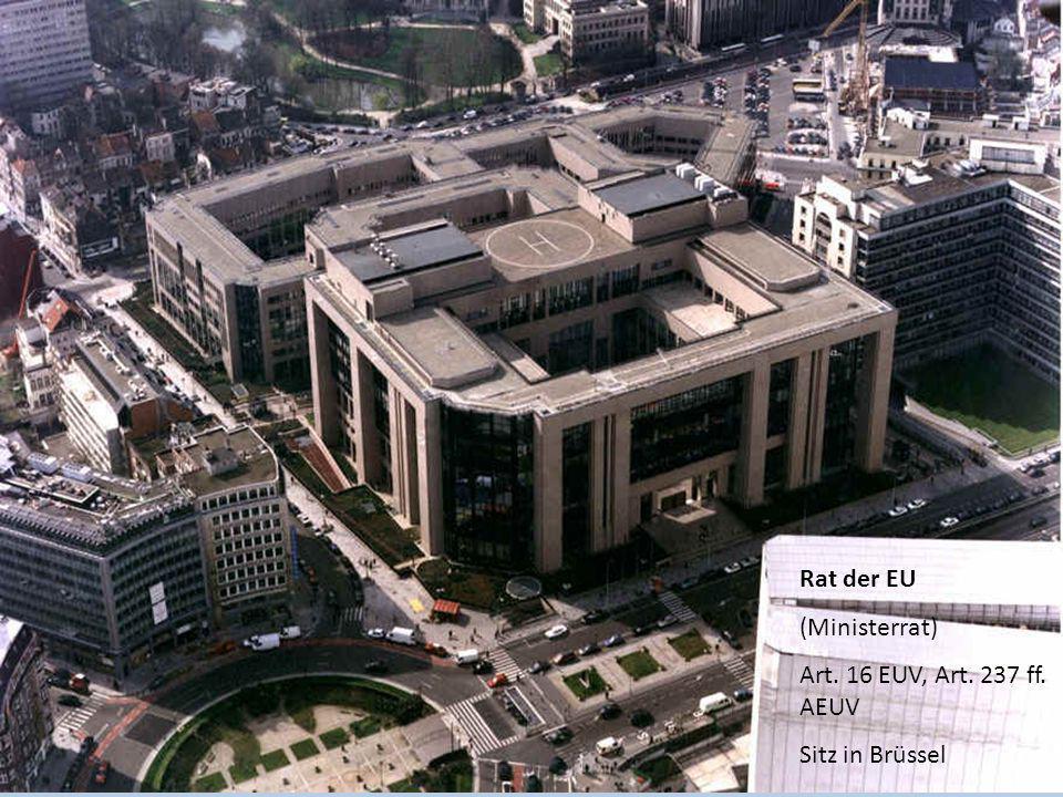 Rat der EU (Ministerrat) Art. 16 EUV, Art. 237 ff. AEUV Sitz in Brüssel