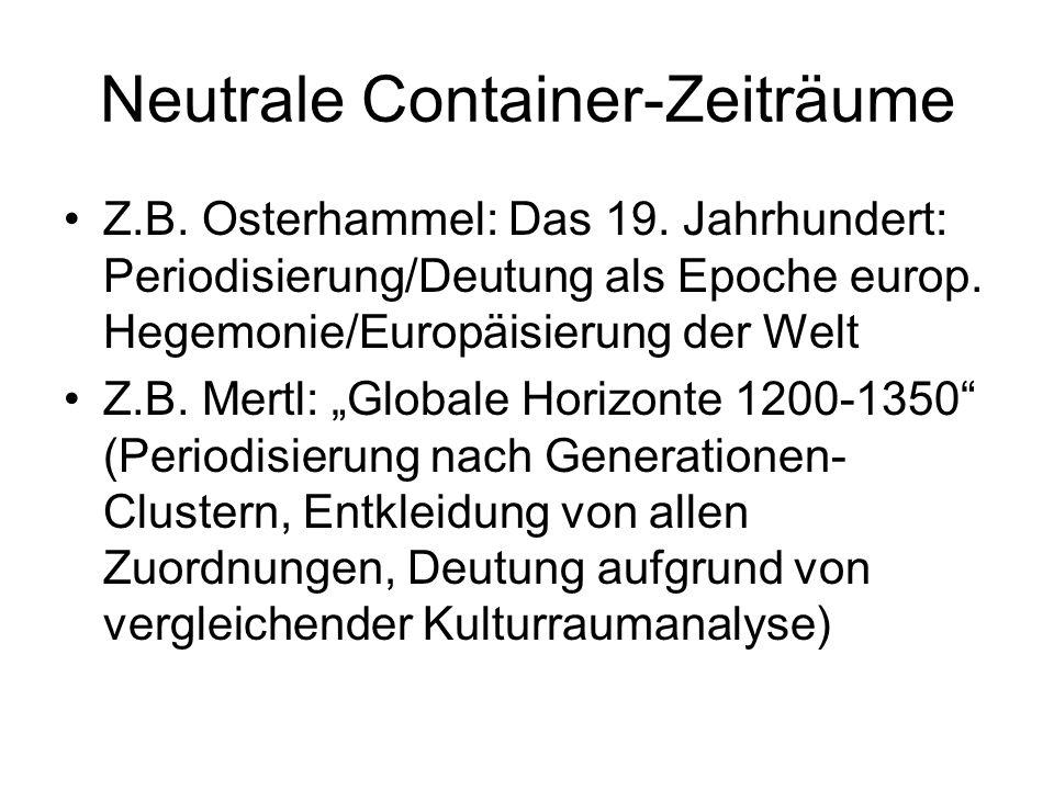 Neutrale Container-Zeiträume Z.B. Osterhammel: Das 19. Jahrhundert: Periodisierung/Deutung als Epoche europ. Hegemonie/Europäisierung der Welt Z.B. Me
