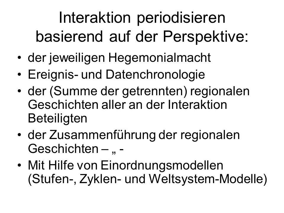 Interaktion periodisieren basierend auf der Perspektive: der jeweiligen Hegemonialmacht Ereignis- und Datenchronologie der (Summe der getrennten) regi