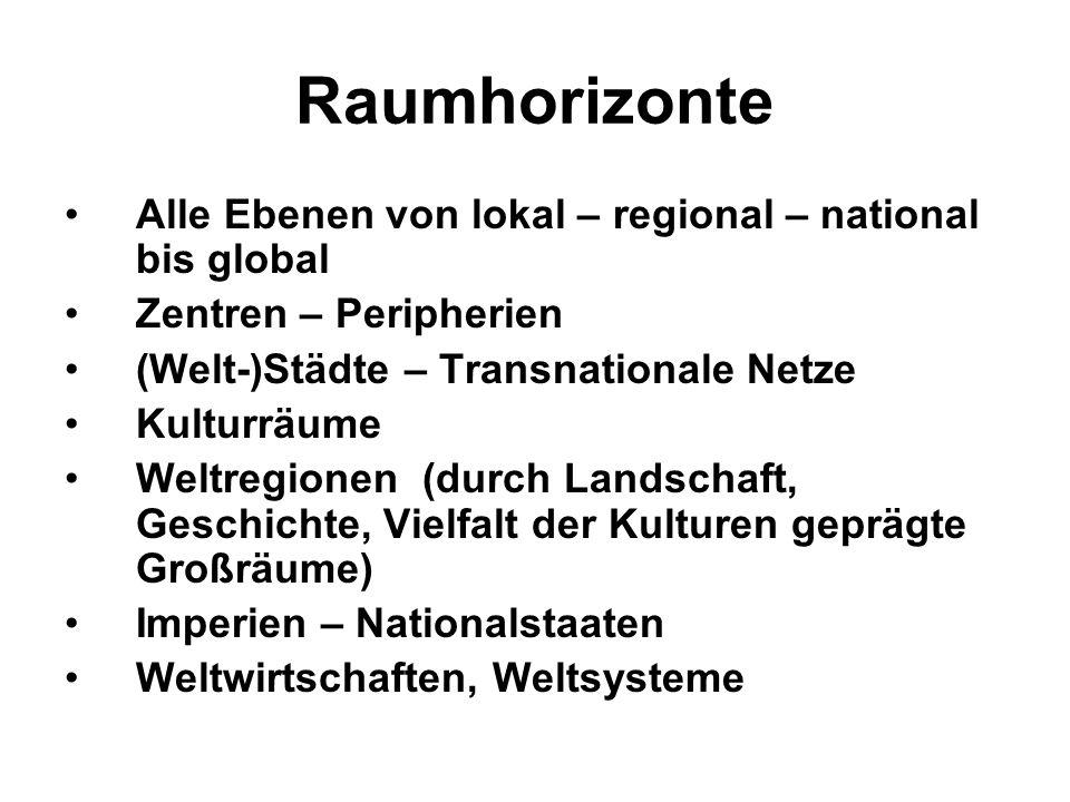 Raumhorizonte Alle Ebenen von lokal – regional – national bis global Zentren – Peripherien (Welt-)Städte – Transnationale Netze Kulturräume Weltregion