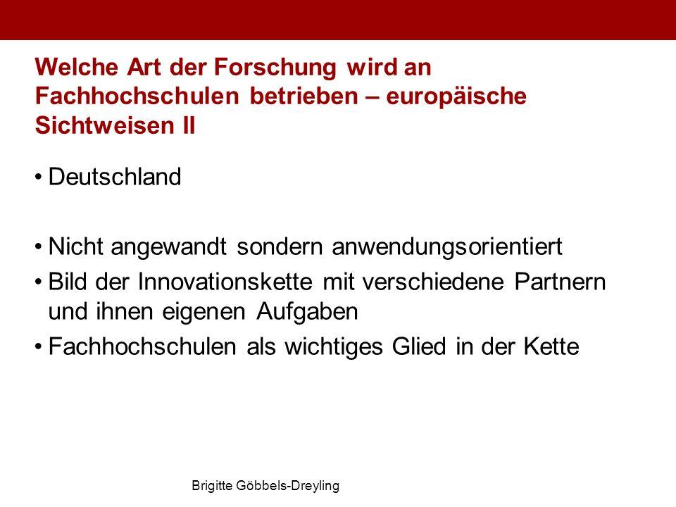 Brigitte Göbbels-Dreyling Welche Art der Forschung wird an Fachhochschulen betrieben – europäische Sichtweisen II Deutschland Nicht angewandt sondern