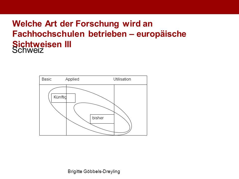 Brigitte Göbbels-Dreyling Welche Art der Forschung wird an Fachhochschulen betrieben – europäische Sichtweisen III Schweiz Basic AppliedUtilisation bi