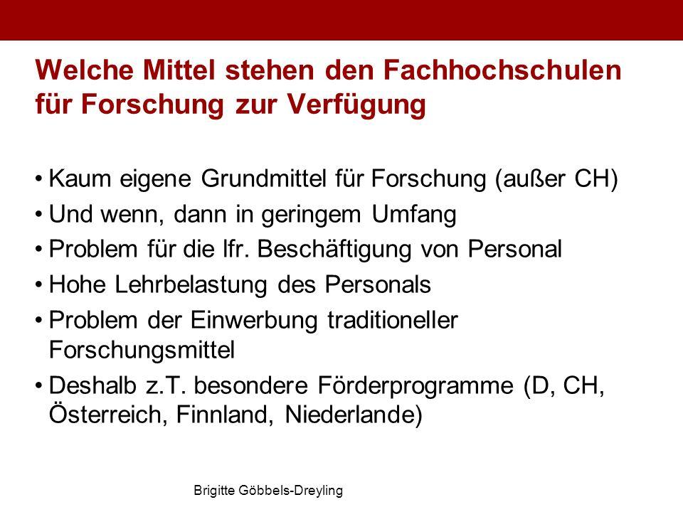 Brigitte Göbbels-Dreyling Welche Mittel stehen den Fachhochschulen für Forschung zur Verfügung Kaum eigene Grundmittel für Forschung (außer CH) Und we