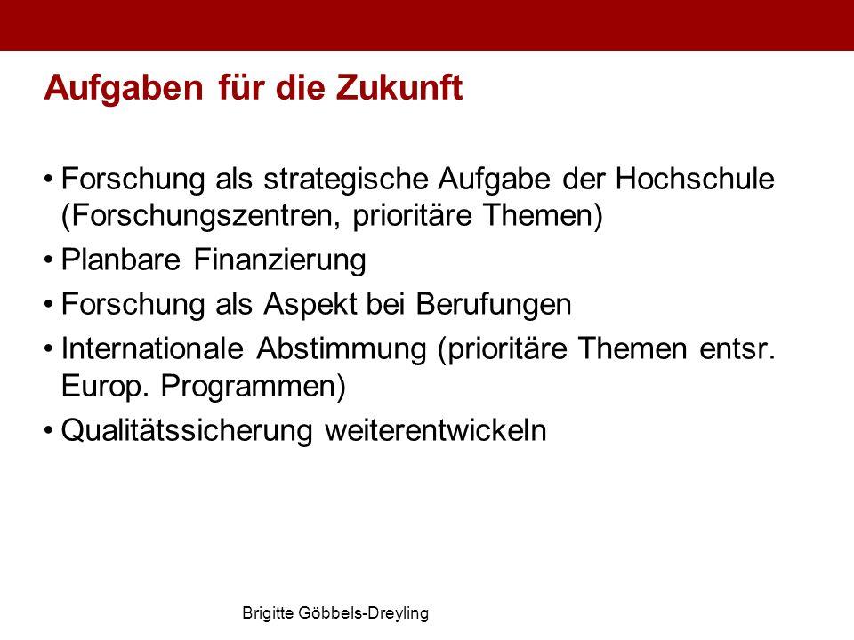 Brigitte Göbbels-Dreyling Aufgaben für die Zukunft Forschung als strategische Aufgabe der Hochschule (Forschungszentren, prioritäre Themen) Planbare F