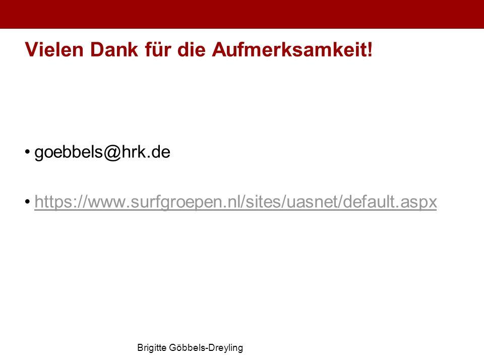 Brigitte Göbbels-Dreyling Vielen Dank für die Aufmerksamkeit! goebbels@hrk.de https://www.surfgroepen.nl/sites/uasnet/default.aspx