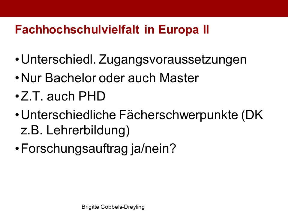Brigitte Göbbels-Dreyling Fachhochschulvielfalt in Europa II Unterschiedl. Zugangsvoraussetzungen Nur Bachelor oder auch Master Z.T. auch PHD Untersch