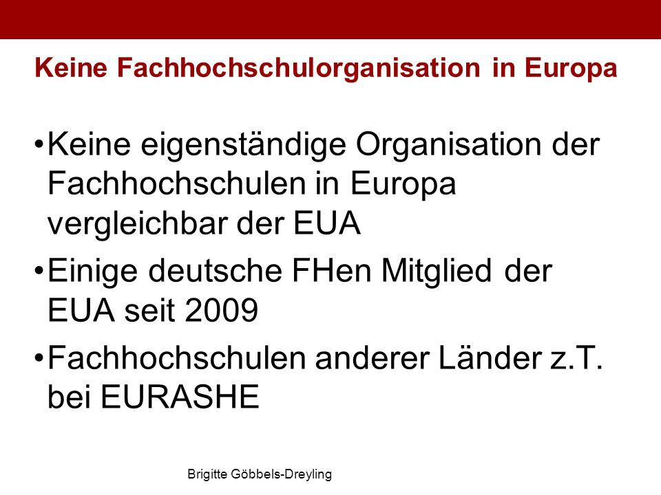 Brigitte Göbbels-Dreyling Keine Fachhochschulorganisation in Europa Keine eigenständige Organisation der Fachhochschulen in Europa vergleichbar der EU