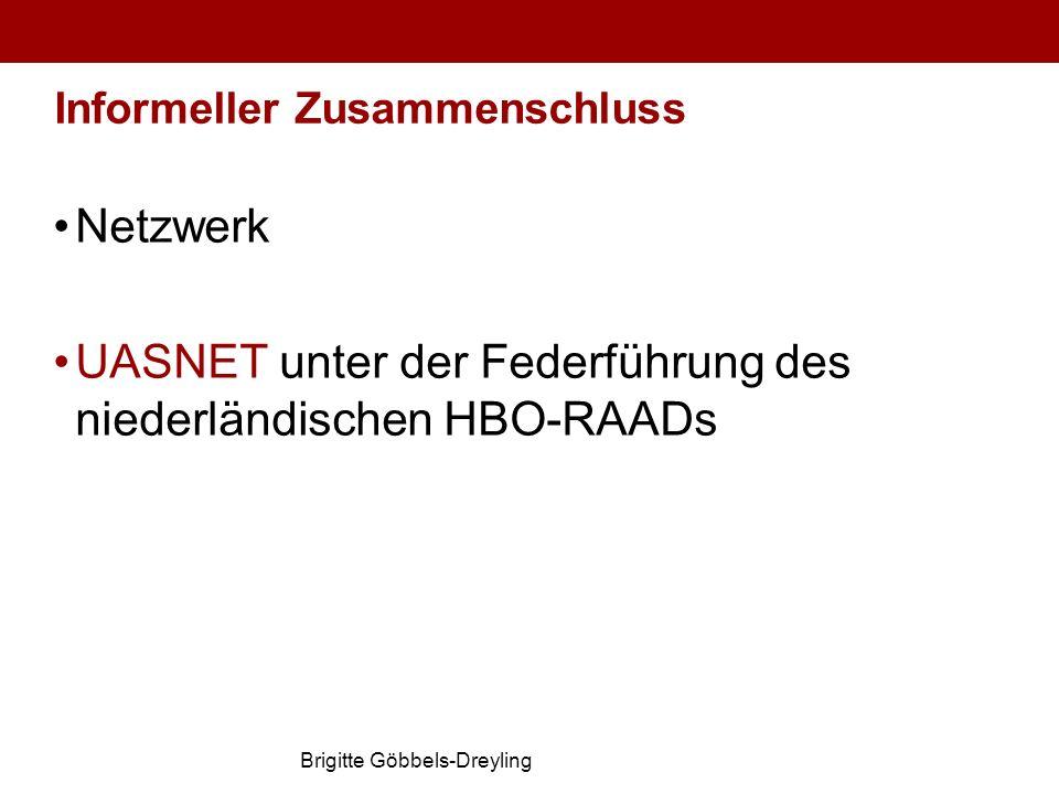 Brigitte Göbbels-Dreyling Informeller Zusammenschluss Netzwerk UASNET unter der Federführung des niederländischen HBO-RAADs