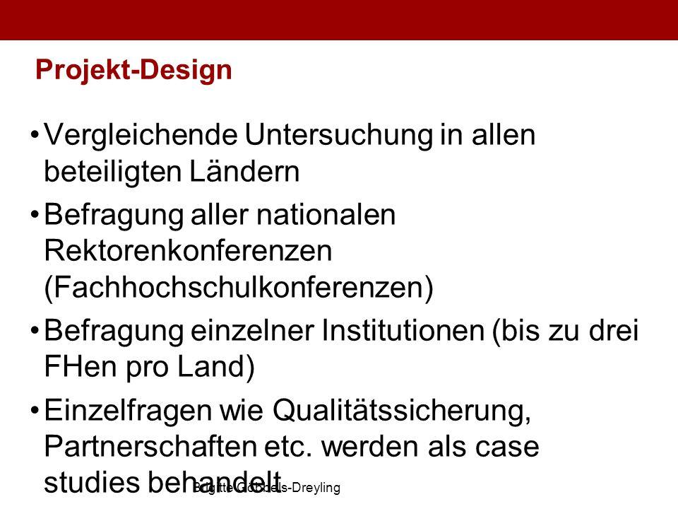 Brigitte Göbbels-Dreyling Projekt-Design Vergleichende Untersuchung in allen beteiligten Ländern Befragung aller nationalen Rektorenkonferenzen (Fachh