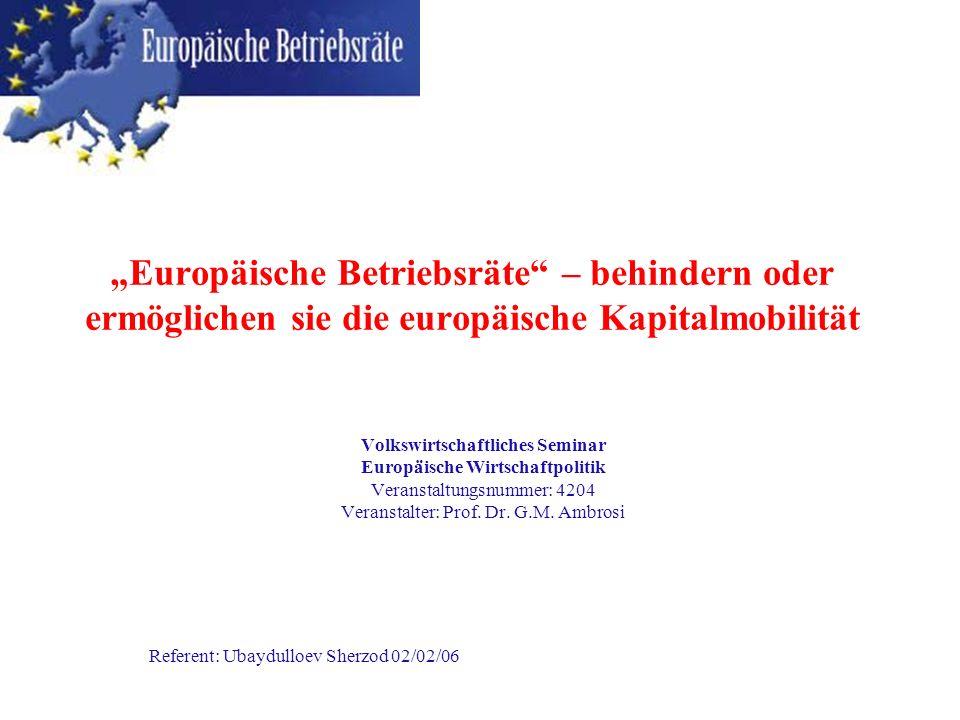 Europäische Betriebsräte – behindern oder ermöglichen sie die europäische Kapitalmobilität Volkswirtschaftliches Seminar Europäische Wirtschaftpolitik