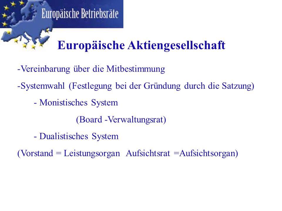 -Vereinbarung über die Mitbestimmung -Systemwahl (Festlegung bei der Gründung durch die Satzung) - Monistisches System (Board -Verwaltungsrat) - Duali