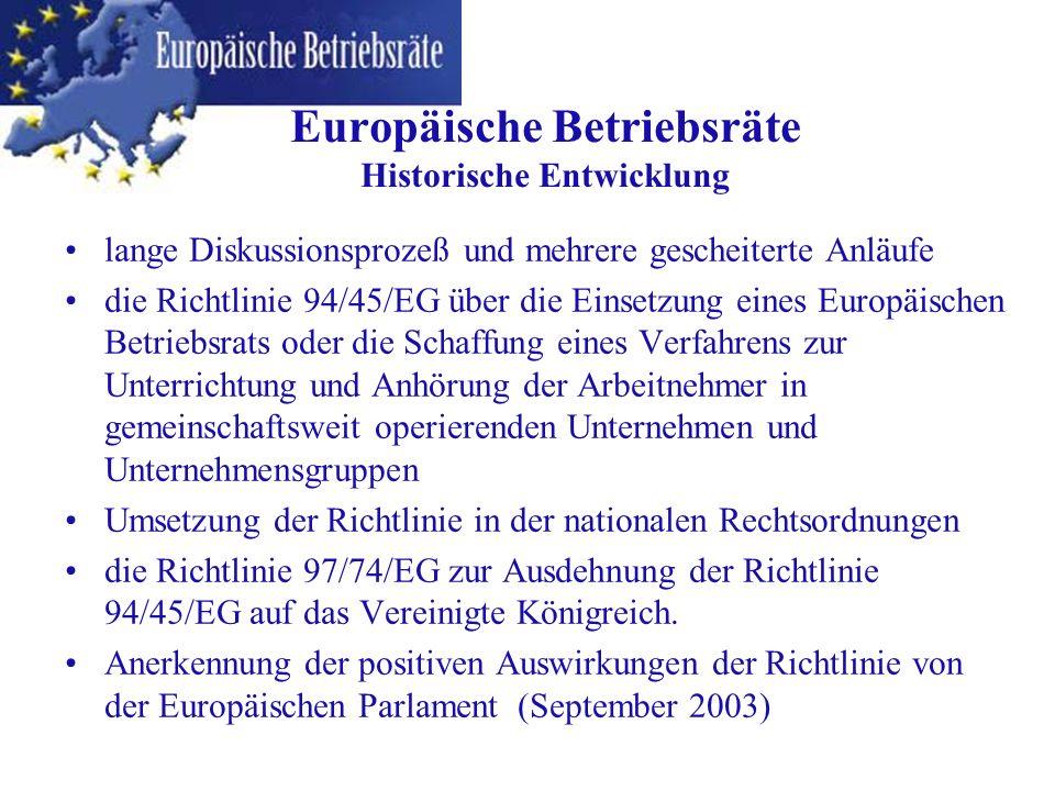 lange Diskussionsprozeß und mehrere gescheiterte Anläufe die Richtlinie 94/45/EG über die Einsetzung eines Europäischen Betriebsrats oder die Schaffun