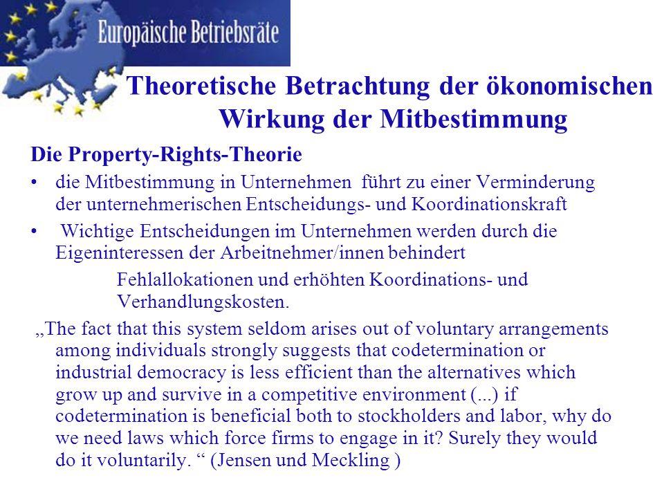 Die Property-Rights-Theorie die Mitbestimmung in Unternehmen führt zu einer Verminderung der unternehmerischen Entscheidungs- und Koordinationskraft W