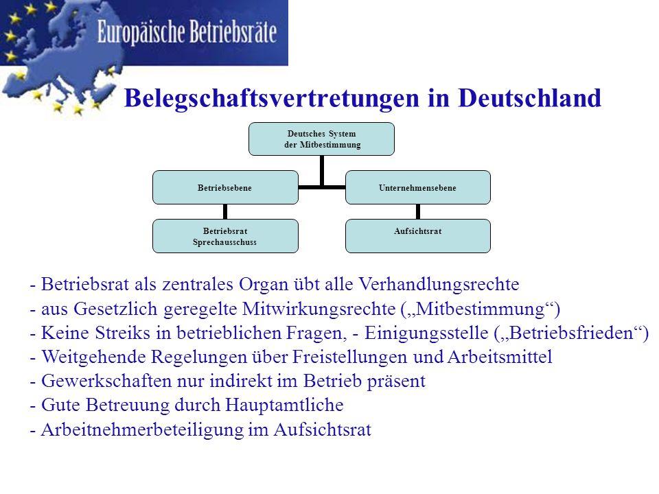 Deutsches System der Mitbestimmung Betriebsebene Betriebsrat Sprechausschuss Unternehmensebene Aufsichtsrat Belegschaftsvertretungen in Deutschland -
