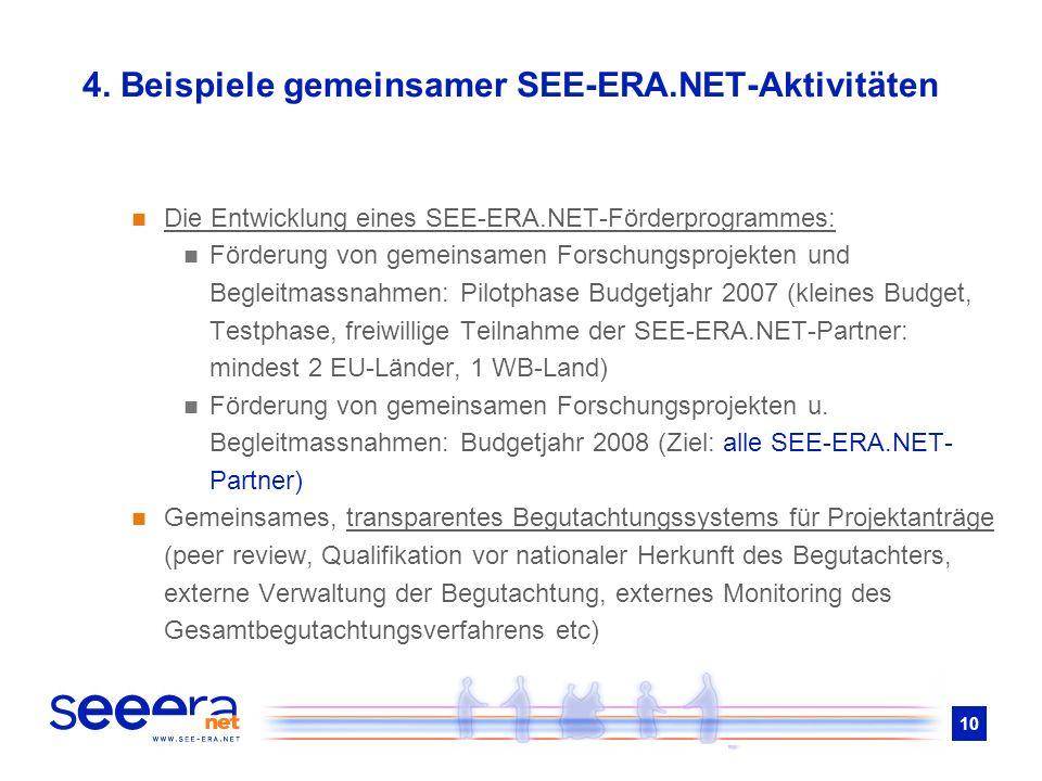 10 4. Beispiele gemeinsamer SEE-ERA.NET-Aktivitäten Die Entwicklung eines SEE-ERA.NET-Förderprogrammes: Förderung von gemeinsamen Forschungsprojekten