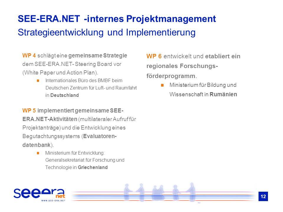 12 WP 4 schlägt eine gemeinsame Strategie dem SEE-ERA.NET- Steering Board vor (White Paper und Action Plan). Internationales Büro des BMBF beim Deutsc