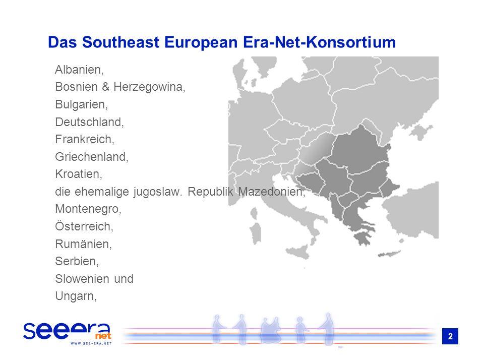 2 Das Southeast European Era-Net-Konsortium Albanien, Bosnien & Herzegowina, Bulgarien, Deutschland, Frankreich, Griechenland, Kroatien, die ehemalige jugoslaw.