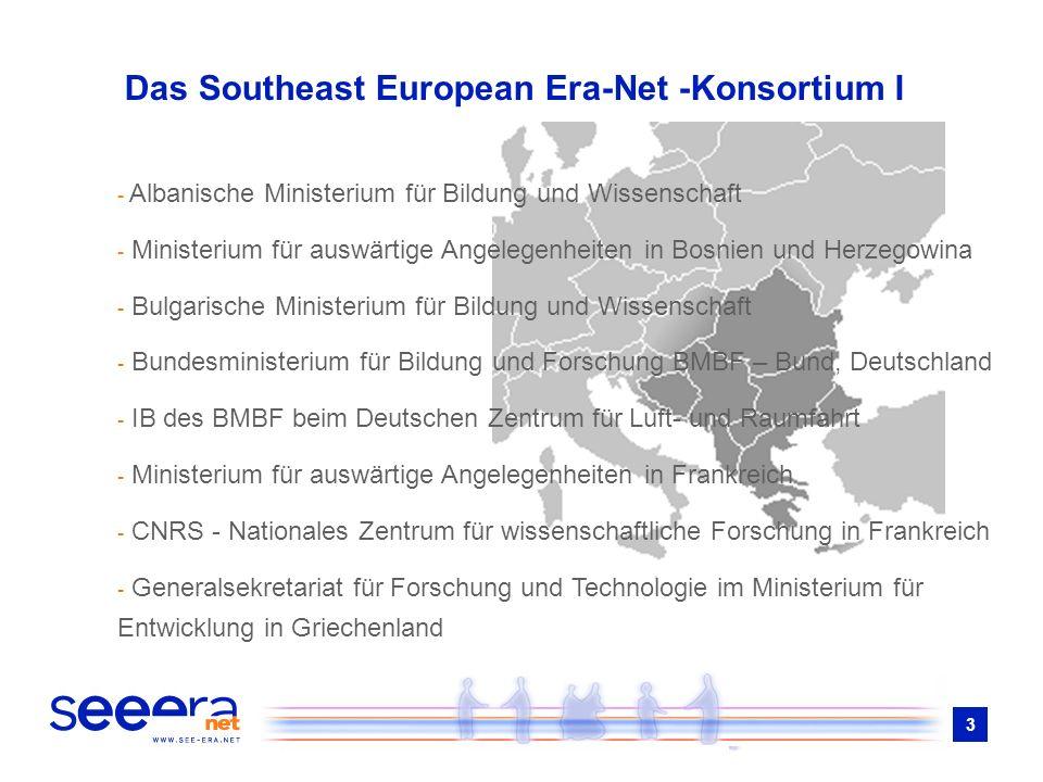 3 Das Southeast European Era-Net -Konsortium I - Albanische Ministerium für Bildung und Wissenschaft - Ministerium für auswärtige Angelegenheiten in B