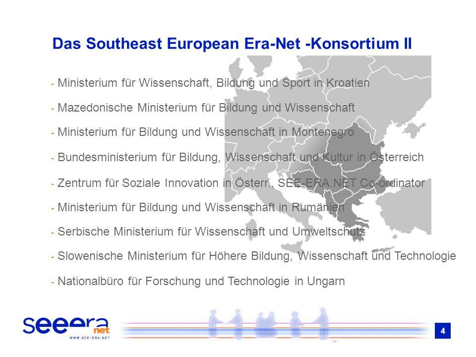 4 Das Southeast European Era-Net -Konsortium II - Ministerium für Wissenschaft, Bildung und Sport in Kroatien - Mazedonische Ministerium für Bildung u
