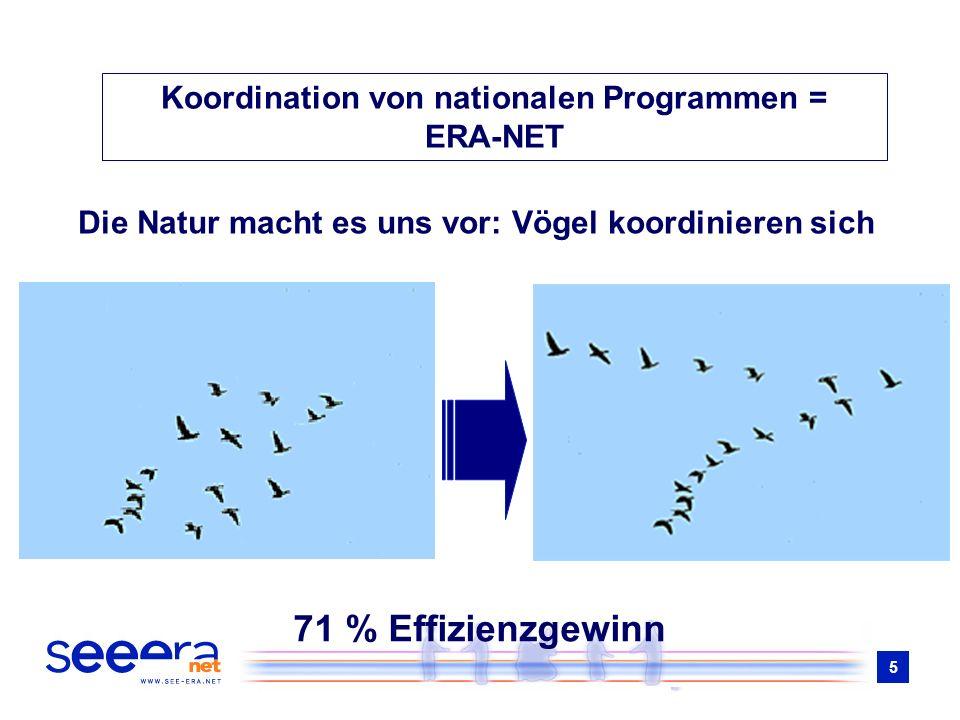 5 Die Natur macht es uns vor: Vögel koordinieren sich 71 % Effizienzgewinn Koordination von nationalen Programmen = ERA-NET