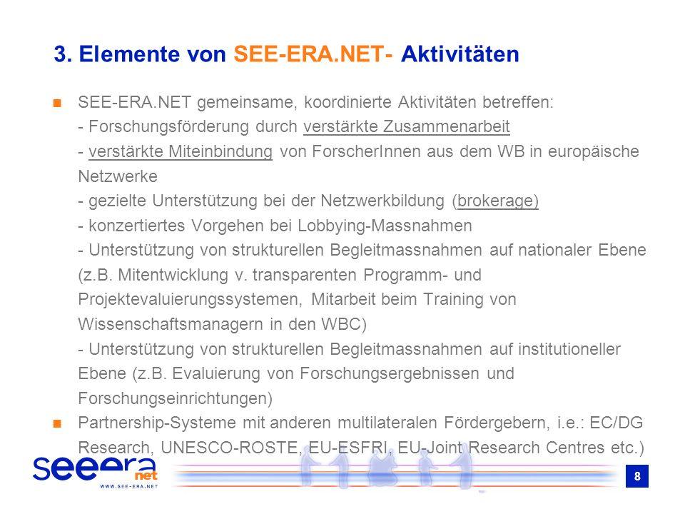 8 3. Elemente von SEE-ERA.NET- Aktivitäten SEE-ERA.NET gemeinsame, koordinierte Aktivitäten betreffen: - Forschungsförderung durch verstärkte Zusammen