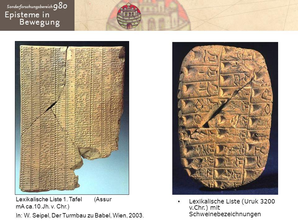 Lexikalische Liste (Uruk 3200 v.Chr.) mit Schweinebezeichnungen Lexikalische Liste 1. Tafel (Assur mA ca.10.Jh. v. Chr.) In: W. Seipel, Der Turmbau zu