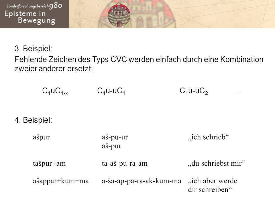 3. Beispiel: Fehlende Zeichen des Typs CVC werden einfach durch eine Kombination zweier anderer ersetzt: C 1 uC 1-x C 1 u-uC 1 C 1 u-uC 2... 4. Beispi
