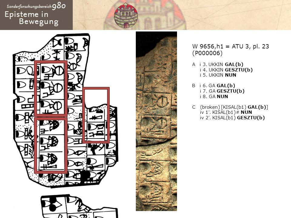 W 9656,h1 = ATU 3, pl. 23 (P000006) A i 3. UKKIN GAL(b) i 4. UKKIN GESZTU(b) i 5. UKKIN NUN B i 6. GA GAL(b) i 7. GA GESZTU(b) i 8. GA NUN C (broken)