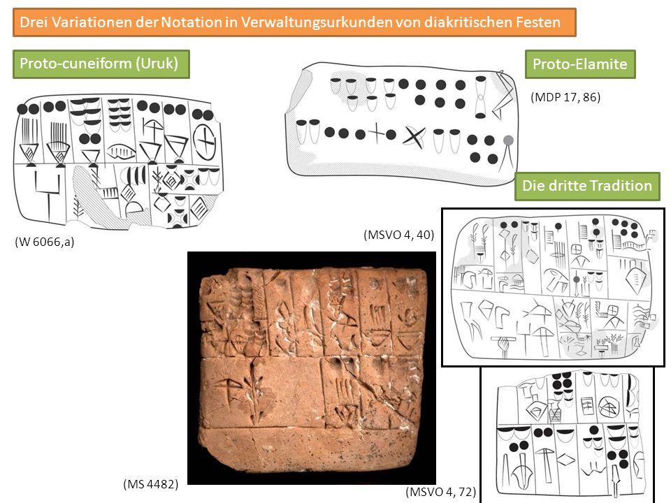 Drei Variationen der Notation in Verwaltungsurkunden von diakritischen Festen Proto-cuneiform (Uruk) Proto-Elamite (W 6066,a) (MDP 17, 86) (MS 4482) (