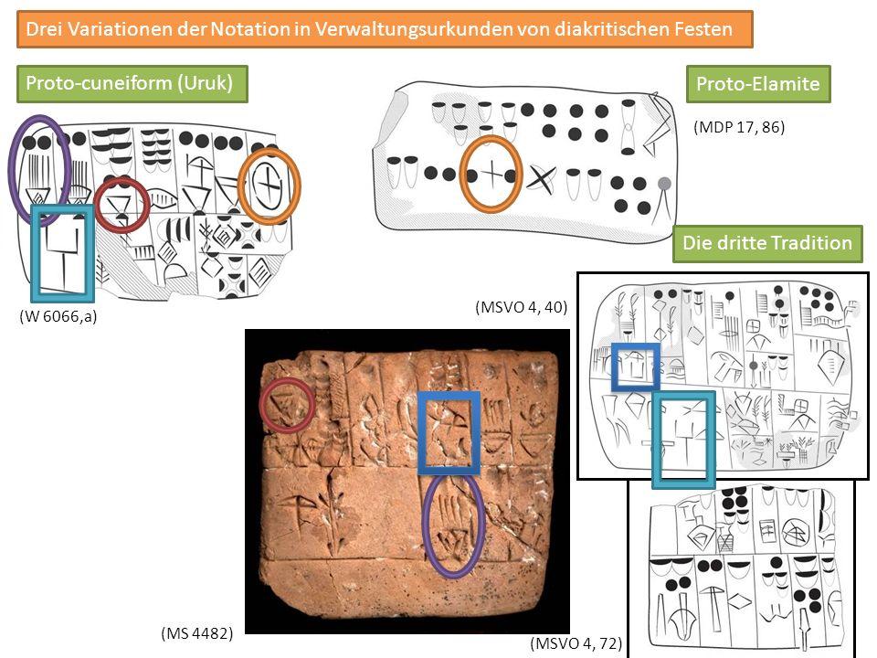 Proto-cuneiform (Uruk) Proto-Elamite (MS 4482) (MSVO 4, 72) (MDP 17, 86) (W 6066,a) (MSVO 4, 40) Die dritte Tradition Drei Variationen der Notation in