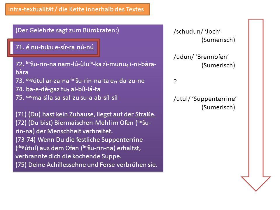 /schudun/ Joch (Sumerisch) /udun/ Brennofen (Sumerisch) ? /utul/ Suppenterrine (Sumerisch) Intra-textualität / die Kette innerhalb des Textes (Der Gel