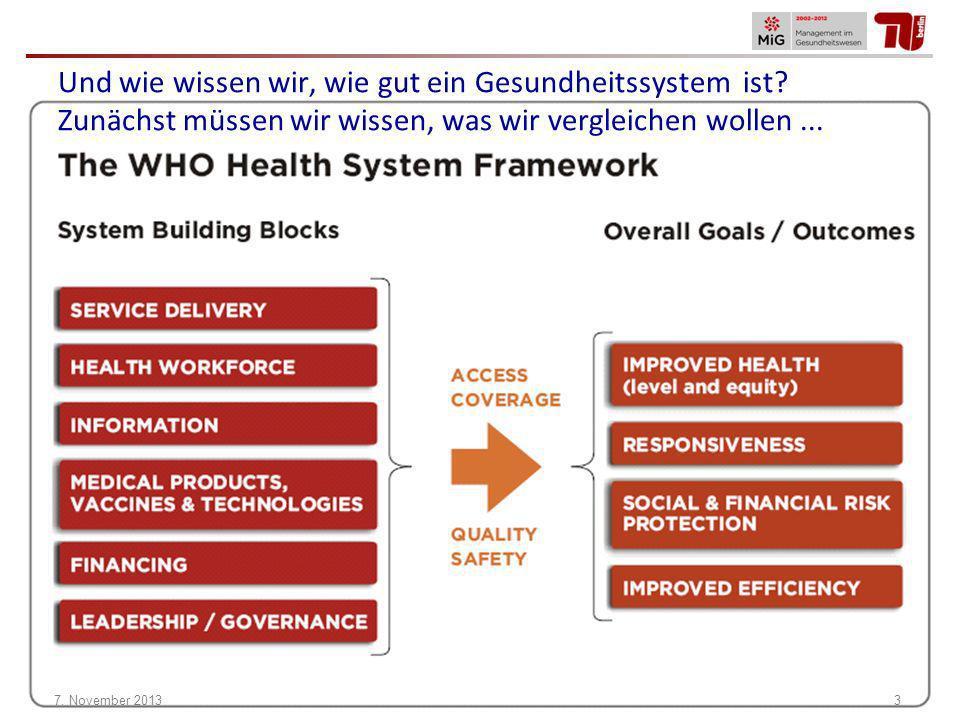 Und wie wissen wir, wie gut ein Gesundheitssystem ist? Zunächst müssen wir wissen, was wir vergleichen wollen... 7. November 20133