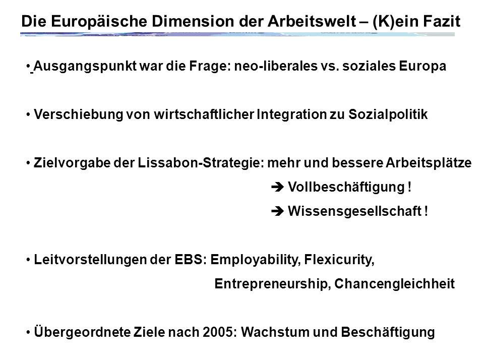 Die Europäische Dimension der Arbeitswelt – (K)ein Fazit Ausgangspunkt war die Frage: neo-liberales vs.