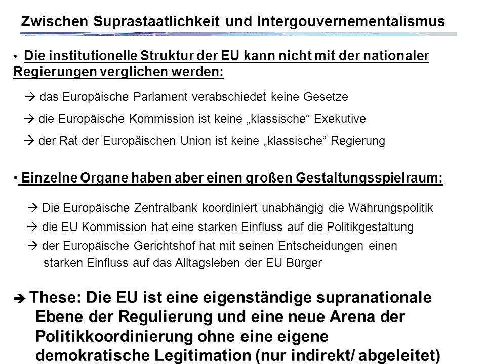 Zwischen Suprastaatlichkeit und Intergouvernementalismus Die institutionelle Struktur der EU kann nicht mit der nationaler Regierungen verglichen werden: das Europäische Parlament verabschiedet keine Gesetze die Europäische Kommission ist keine klassische Exekutive der Rat der Europäischen Union ist keine klassische Regierung Einzelne Organe haben aber einen großen Gestaltungsspielraum: Die Europäische Zentralbank koordiniert unabhängig die Währungspolitik die EU Kommission hat eine starken Einfluss auf die Politikgestaltung der Europäische Gerichtshof hat mit seinen Entscheidungen einen starken Einfluss auf das Alltagsleben der EU Bürger These: Die EU ist eine eigenständige supranationale Ebene der Regulierung und eine neue Arena der Politikkoordinierung ohne eine eigene demokratische Legitimation (nur indirekt/ abgeleitet)
