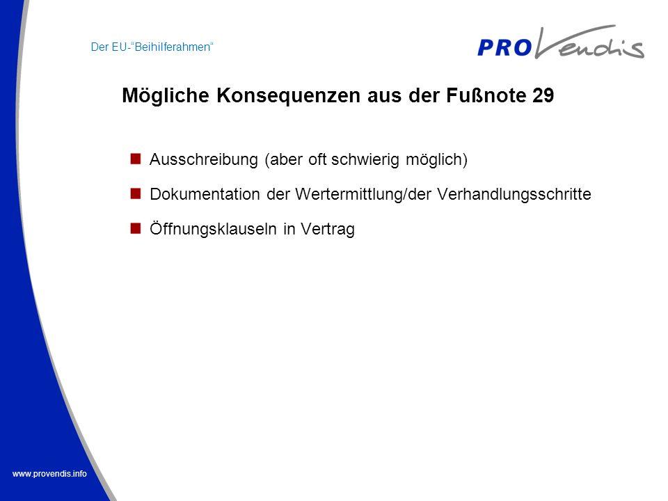 www.provendis.info Mögliche Konsequenzen aus der Fußnote 29 Der EU-Beihilferahmen Ausschreibung (aber oft schwierig möglich) Dokumentation der Werterm