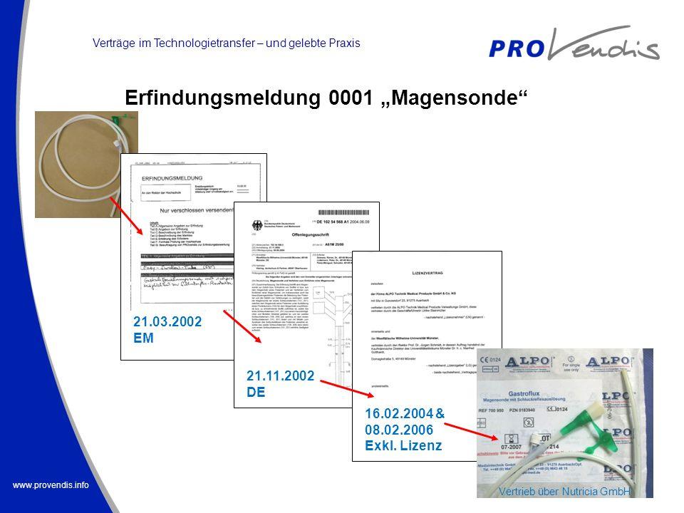 www.provendis.info 21.03.2002 EM 21.11.2002 DE 16.02.2004 & 08.02.2006 Exkl. Lizenz Vertrieb über Nutricia GmbH Verträge im Technologietransfer – und