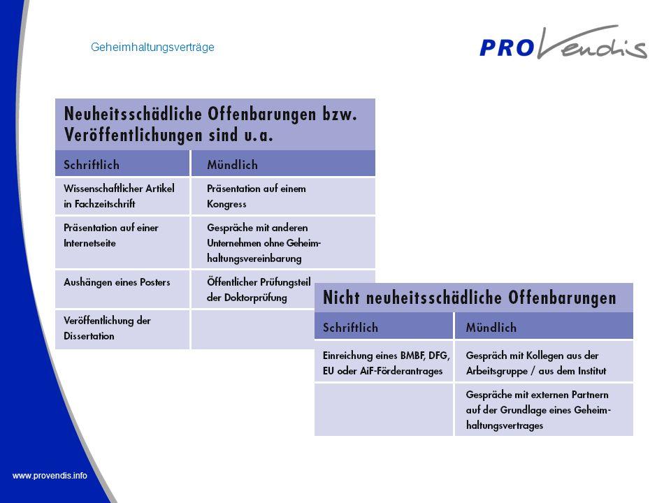 www.provendis.info Geheimhaltungsverträge