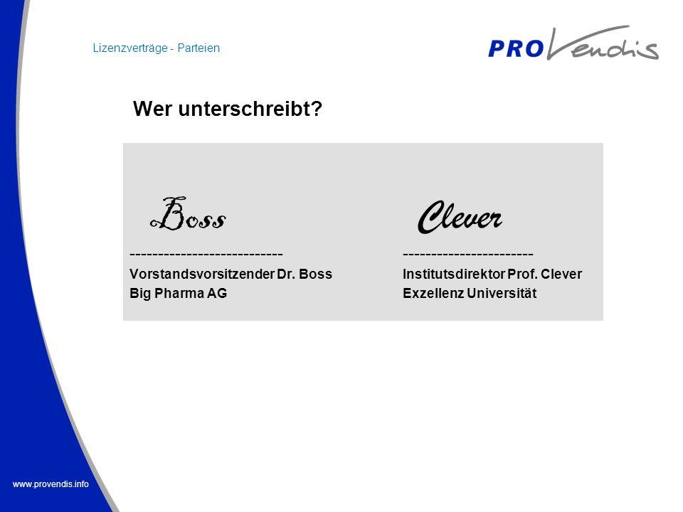 www.provendis.info Boss Clever -------------------------------------------------- Vorstandsvorsitzender Dr. Boss Institutsdirektor Prof. Clever Big Ph