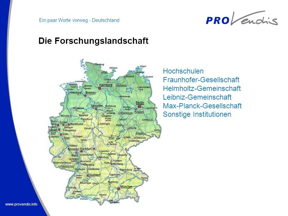 www.provendis.info Hochschulen Fraunhofer-Gesellschaft Helmholtz-Gemeinschaft Leibniz-Gemeinschaft Max-Planck-Gesellschaft Sonstige Institutionen Ein