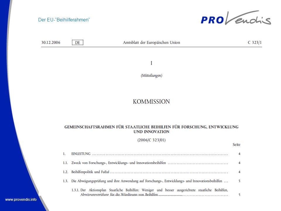 www.provendis.info Der EU-Beihilferahmen
