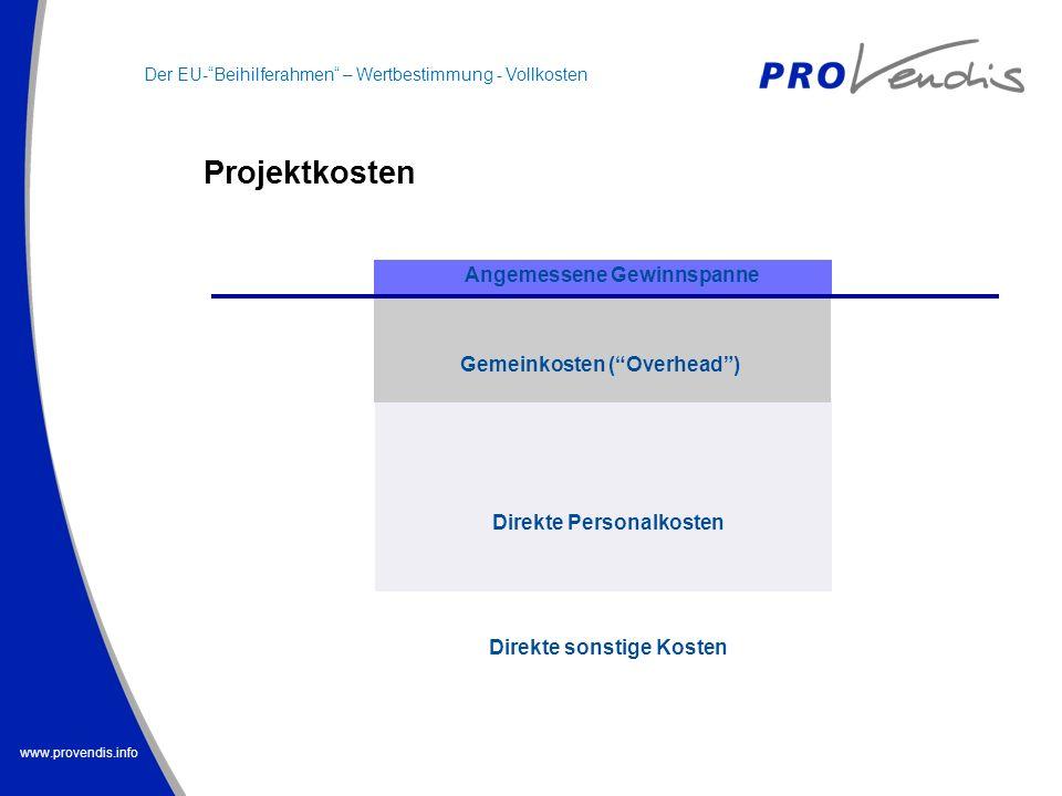 www.provendis.info Projektkosten Gemeinkosten (Overhead) Angemessene Gewinnspanne Direkte Personalkosten Direkte sonstige Kosten Der EU-Beihilferahmen