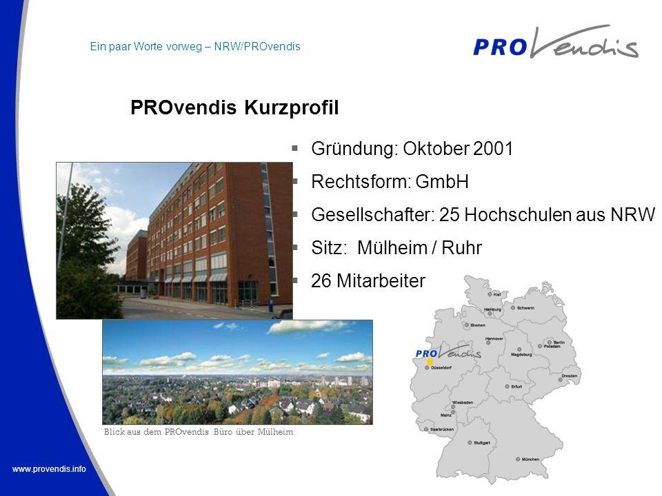 www.provendis.info Gründung: Oktober 2001 Rechtsform: GmbH Gesellschafter: 25 Hochschulen aus NRW Sitz: Mülheim / Ruhr 26 Mitarbeiter PROvendis Kurzpr