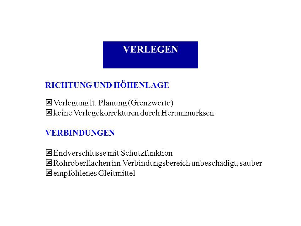 VERLEGEN RICHTUNG UND HÖHENLAGE ý Verlegung lt. Planung (Grenzwerte) ý keine Verlegekorrekturen durch Herummurksen VERBINDUNGEN ý Endverschlüsse mit S