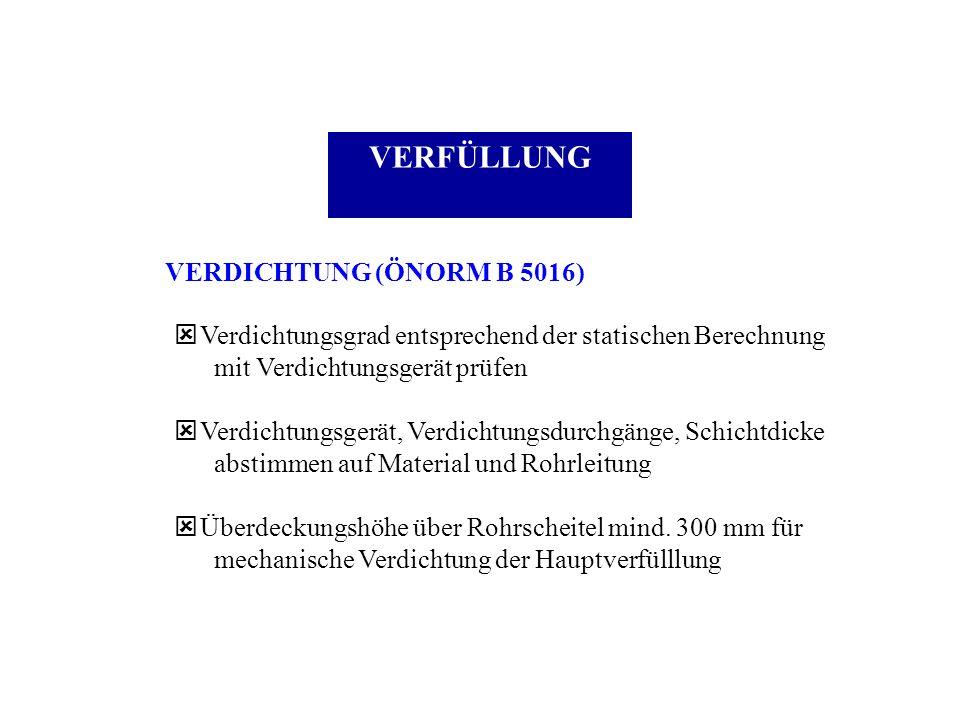 VERFÜLLUNG VERDICHTUNG (ÖNORM B 5016) ý Verdichtungsgrad entsprechend der statischen Berechnung mit Verdichtungsgerät prüfen ý Verdichtungsgerät, Verd