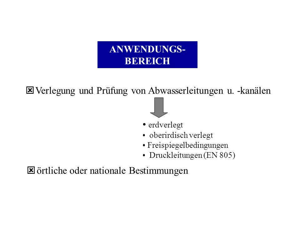 ANWENDUNGS- BEREICH ý Verlegung und Prüfung von Abwasserleitungen u. -kanälen erdverlegt oberirdisch verlegt Freispiegelbedingungen Druckleitungen (EN