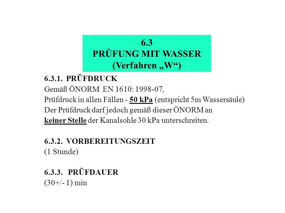6.3.1. PRÜFDRUCK Gemäß ÖNORM EN 1610: 1998-07, Prüfdruck in allen Fällen - 50 kPa (entspricht 5m Wassersäule) Der Prüfdruck darf jedoch gemäß dieser Ö
