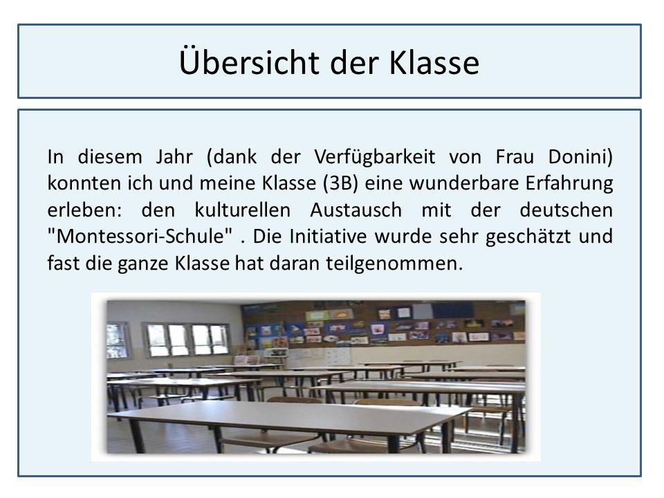Übersicht der Klasse In diesem Jahr (dank der Verfügbarkeit von Frau Donini) konnten ich und meine Klasse (3B) eine wunderbare Erfahrung erleben: den