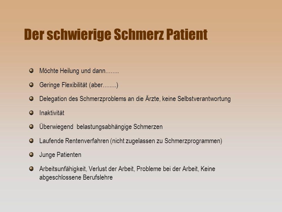 Der schwierige Schmerz Patient Möchte Heilung und dann........ Geringe Flexibilität (aber........) Delegation des Schmerzproblems an die Ärzte, keine